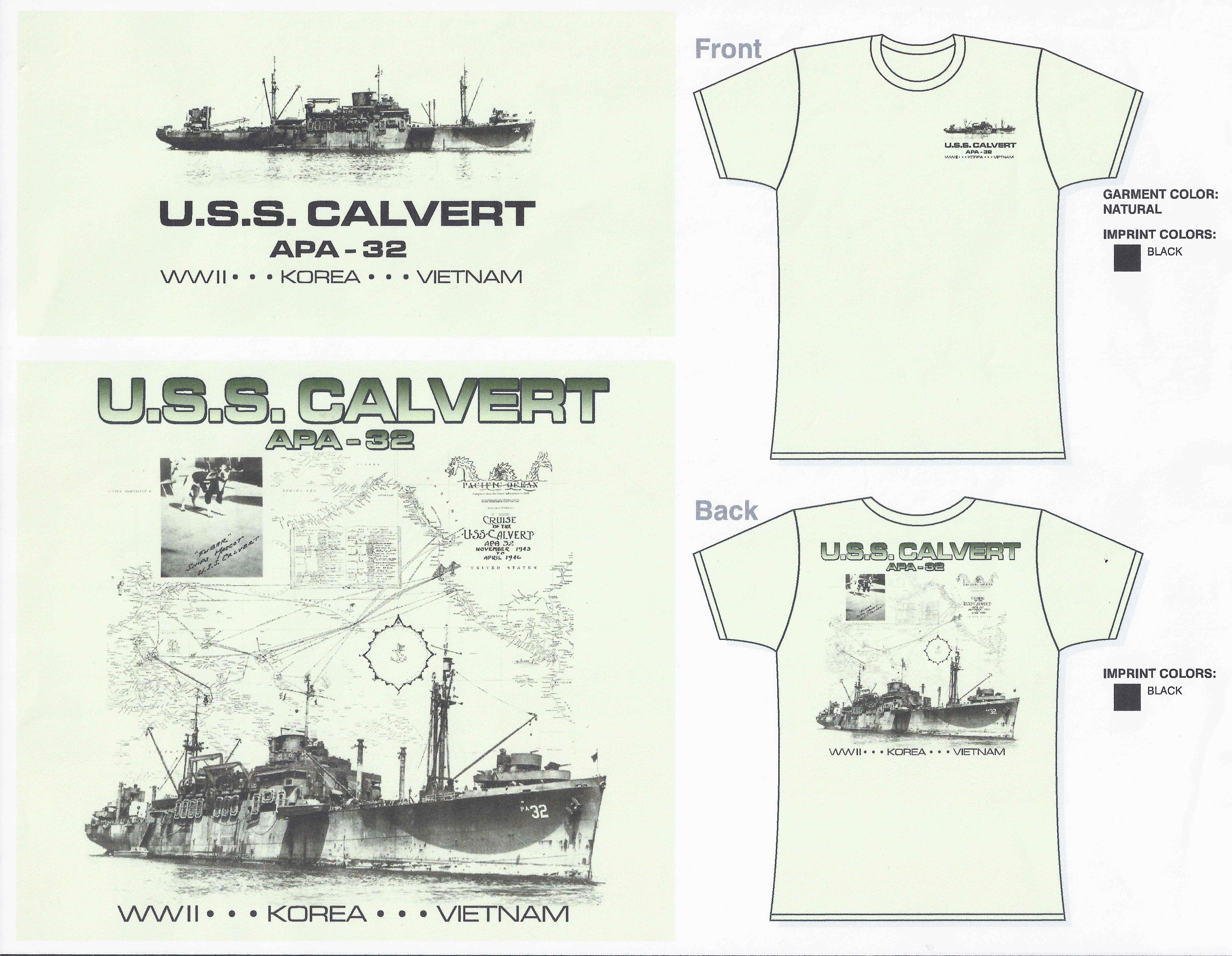 USS Calvert Pacific Cruise TShirt Art Work