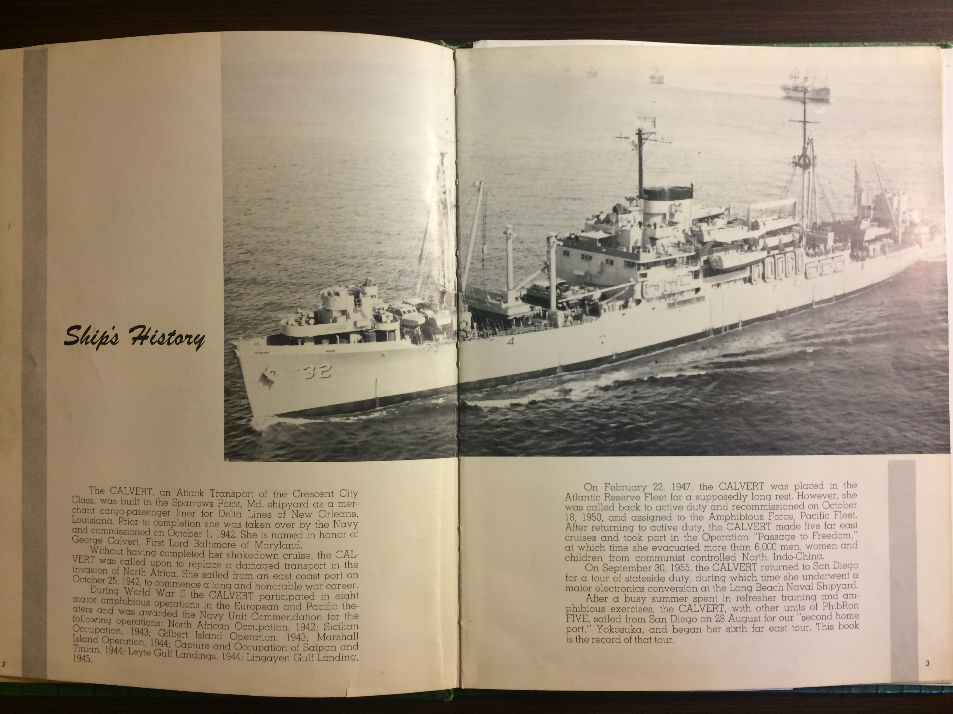 USS Calvert 1956 - Sixth Far East Cruise Book - 002